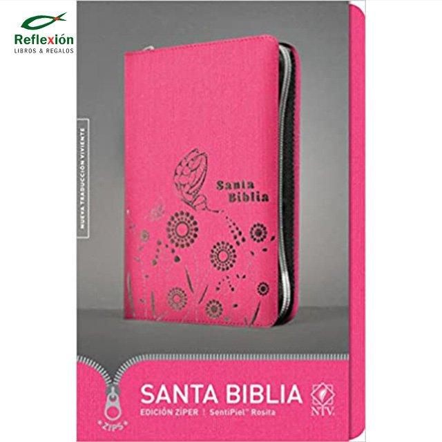 BIBLIA NTV CIERRE ROSA/FLORES/ZIPS