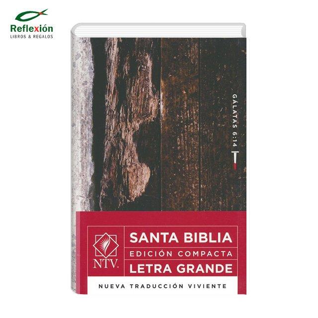 BIBLIA NTV COMPACTA LETRA GRANDE MADERA BLANCO ROJO