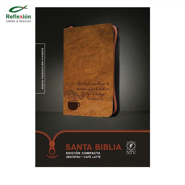 BIBLIA NTV COMPACTA ZIPS SIMIL PIEL CAFE