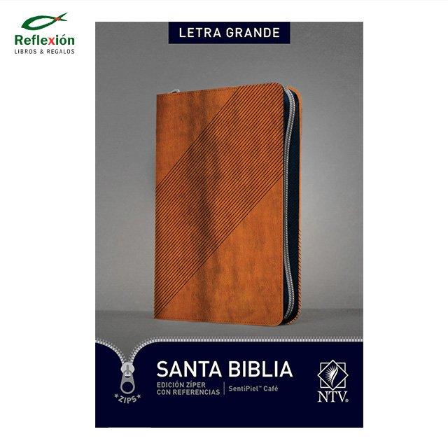 BIBLIA NTV LETRA GRANDE CIERRE ZIPER CAFE