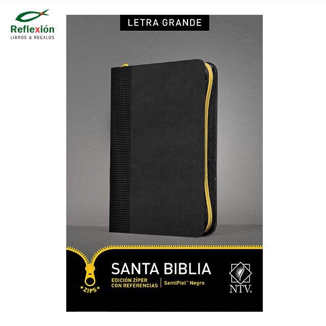 BIBLIA NTV LETRA GRANDE CIERRE ZIPER NEGRO