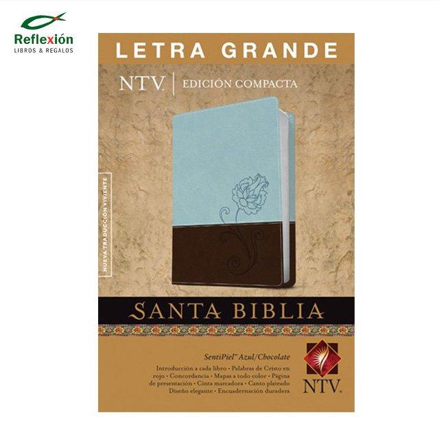 BIBLIA NTV T2 LG CELESTE FLOR/CHOCO PIEL